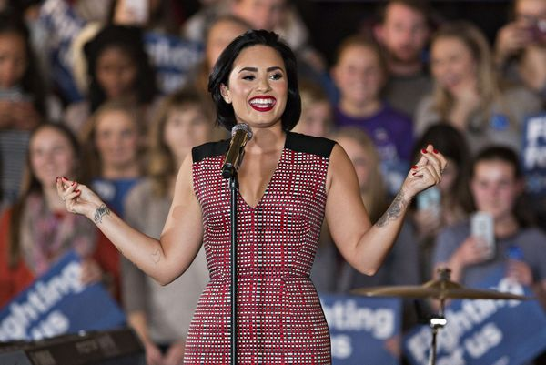 """Singer Demi Lovato expressed her confidence in Clinton during a campaign rally held at the University of Iowa in January. """"I"""