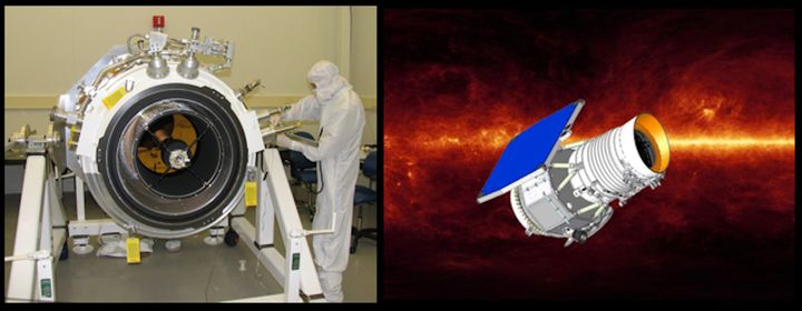 At left, the WISE space telescope during 2009 assembly at the Space Dynamics Laboratory in Logan, Utah, and at right, an illu