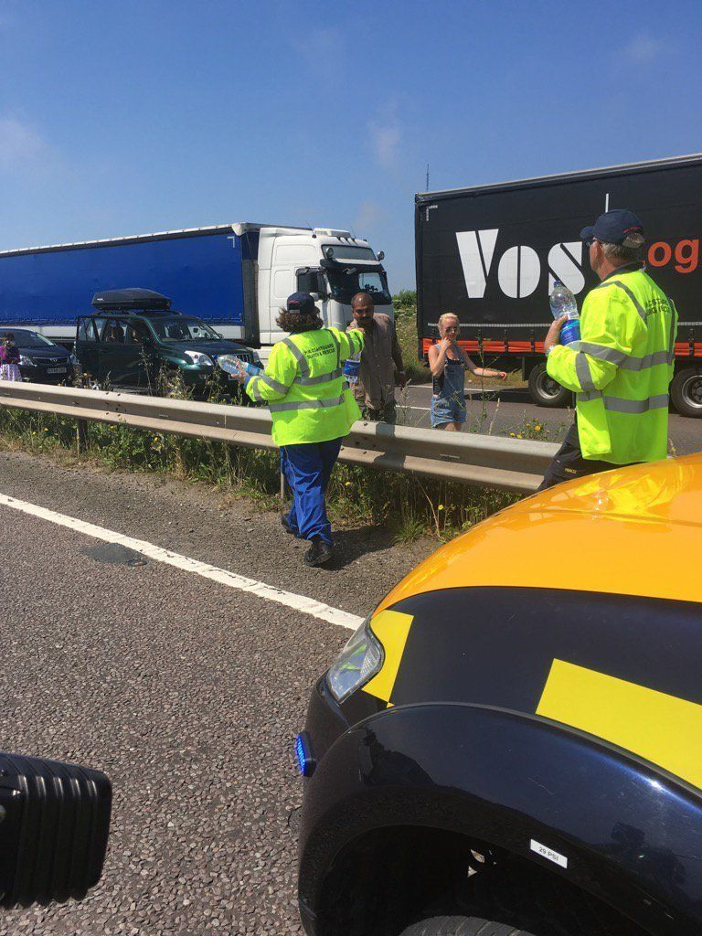 Police Forced To Hand Out Water To Motorists Stranded In Huge Dover