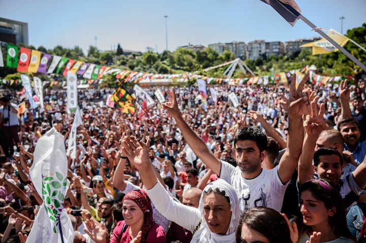 Kurdsrally against military coup and the state of emergency in Istanbul on Saturday. Erdogan imposed thestate of
