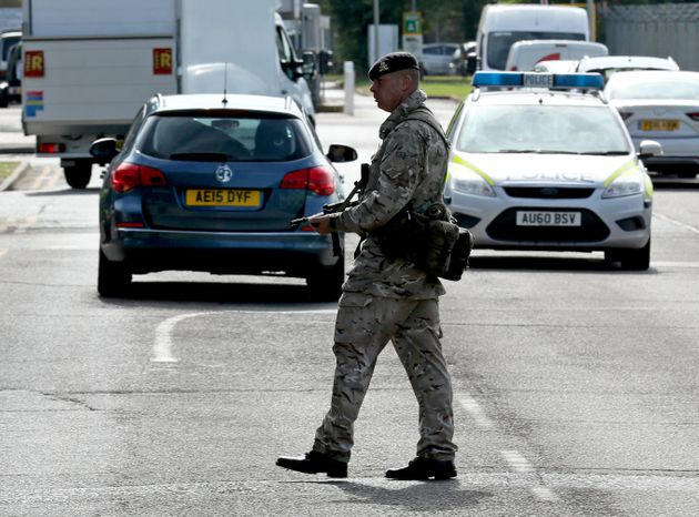 An armed guard at RAF Marham in Norfolk, after a serviceman was threatened with a knife near to the