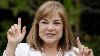 ORANGE, CA., JUNE 7, 2016: U.S. Senate candidate Loretta Sanchez talks to the media after casting her vote at Orange High School on the morning of the California Primary June 7, 2016 (Photo by Mark Boster/Los Angeles Times via Getty Images)