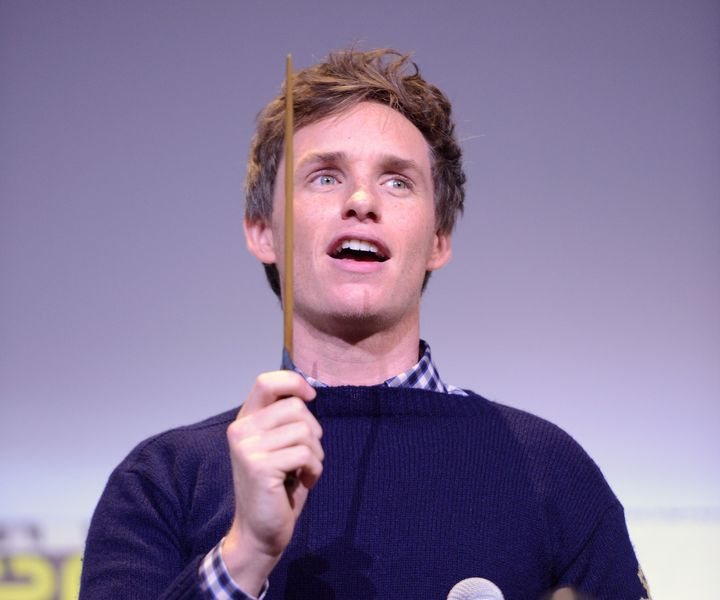 Eddie Redmayne led the crowd in casting a spell at San Diego Comic-Con on Saturday.