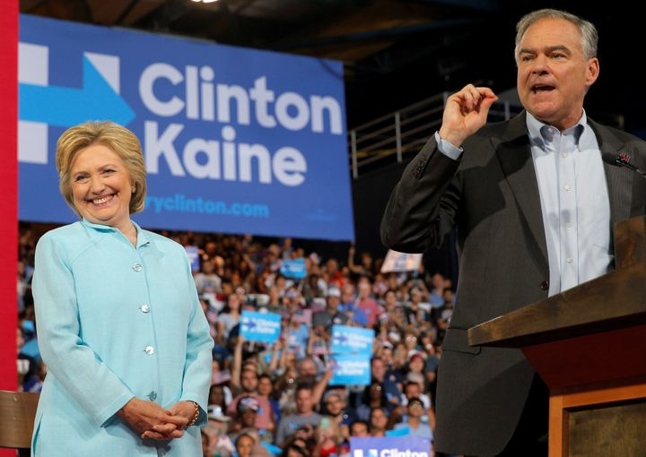 Democratic vice presidential candidate Sen. Tim Kaine joined Hillary Clinton on stage Saturday in Miami, where he spoke