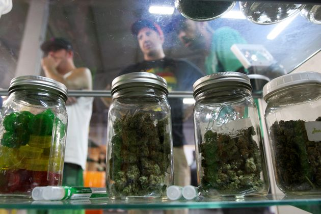 Jars containing marijuana are seen at amedical marijuana farmers market at the California Heritage...