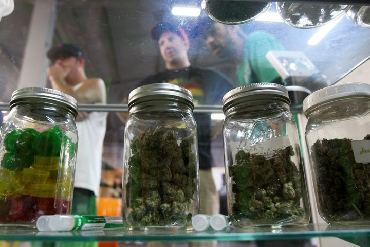 Jars containing marijuana are seen at a medical marijuana farmers market at the California Heritage Market in Los Angeles.