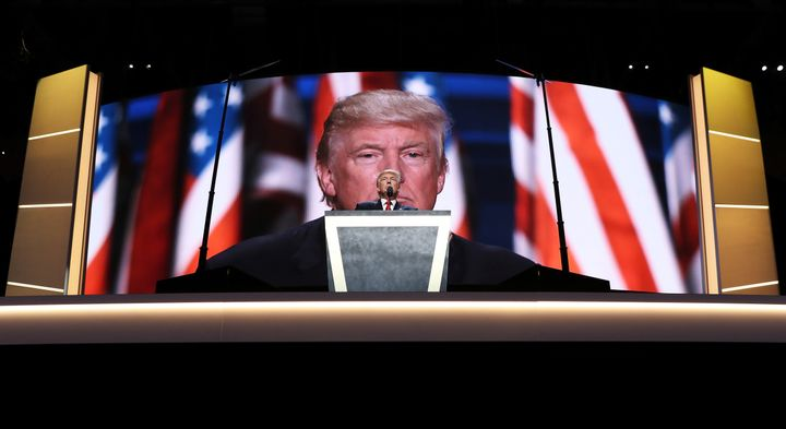 Republican presidential candidate Donald Trump delivers a speech during the evening session on the fourth day of the Republic