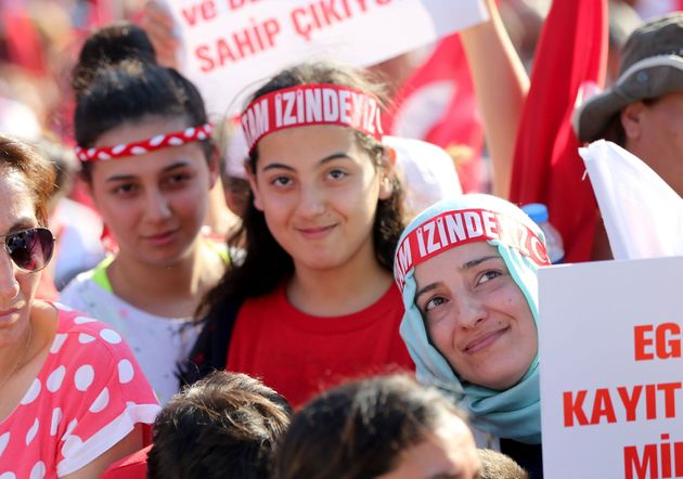 Thousands of Turksgather at Istanbul's iconic Taksim Square July 24 to express condemnation for...