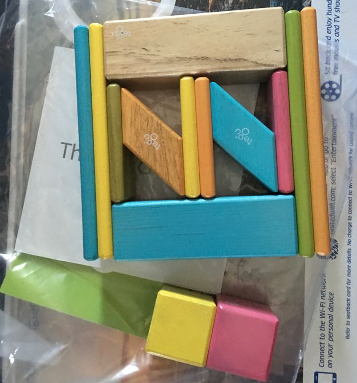 Magnetic blocks like these from Tegu are perfect for air travel as being locked together lessens the fear of losing them.