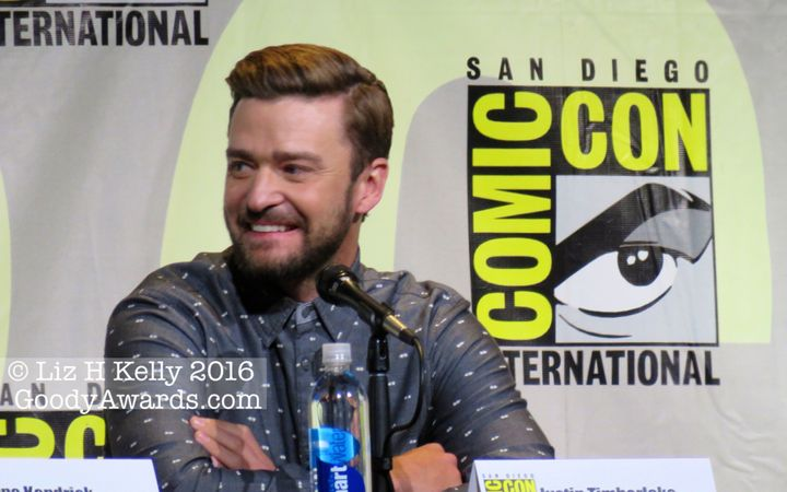 "Justin Timberlake stirs happiness with big grins, hugs and song at Comic-Con 2016 ""Trolls"" movie panel."