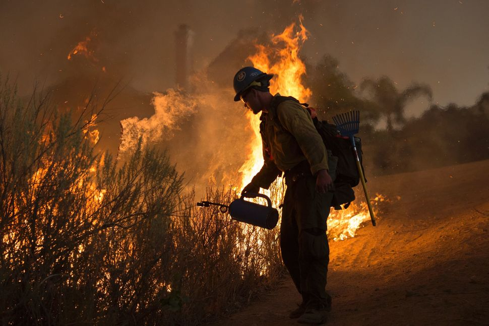 A firefighter with the Texas Canyon Hotshot crew lights a backfire near homes to fight the Sand Fire.