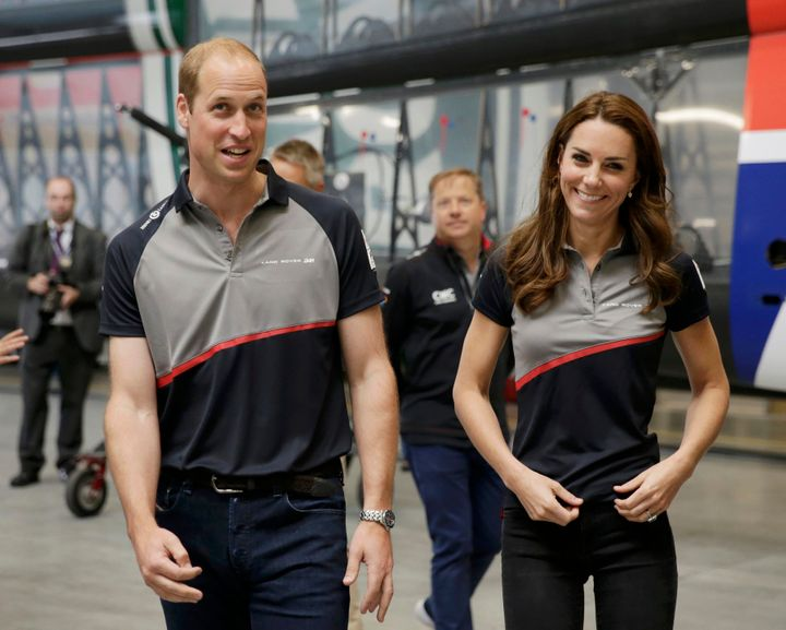The Duke and Duchess of Cambridge attendedthe Land Rover BAR team base during a visit to Portsmouth to see the America's Cup World Series.