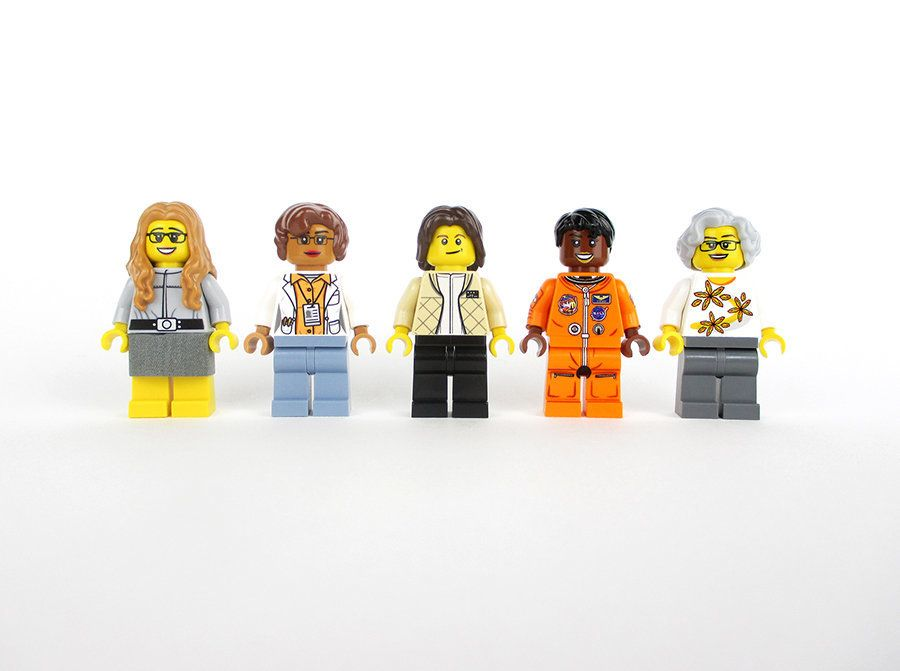 Lego versions of Margaret Hamilton, Katherine Johnson, Sally Ride, Mae Jemison and Nancy Grace Roman.