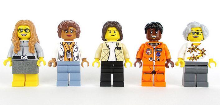 Lego versions ofMargaret Hamilton, Katherine Johnson, Sally Ride, Mae Jemison and Nancy Grace Roman.