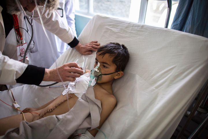 A14-year-old at a hospital in Kabul after sustainingan injury from a landmine. To date, more than 1,500 children have beenkilled and wounded by the war.
