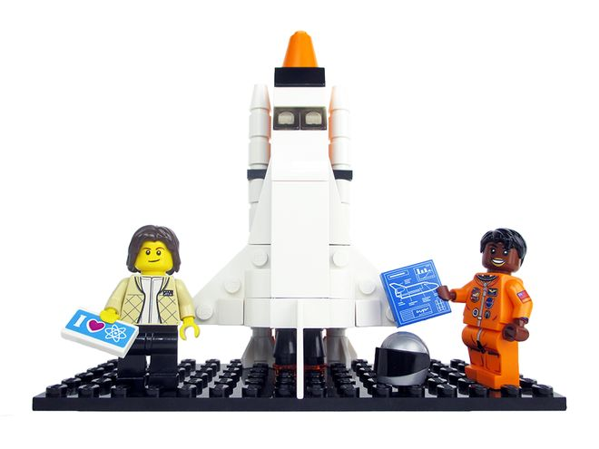 Lego versions of Sally Ride (left) and Mae Jemison.