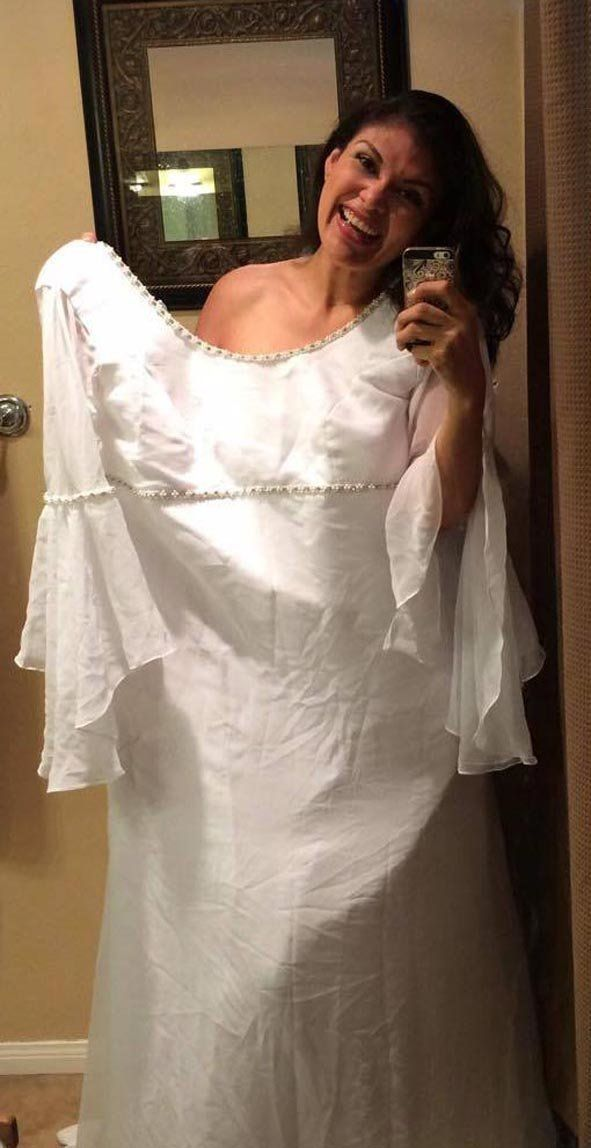 Monica Perez in her wedding dress, which is now twice her size.