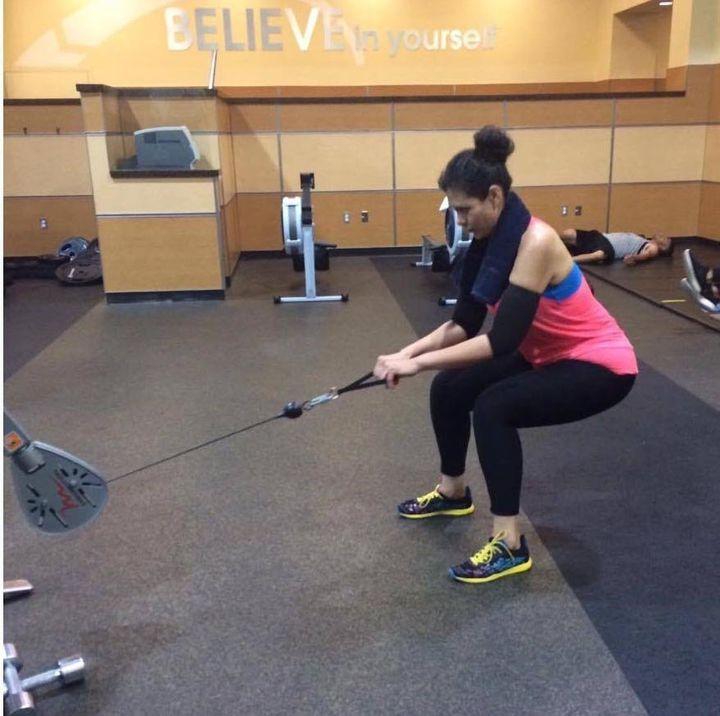 Monica Perez in the gym.