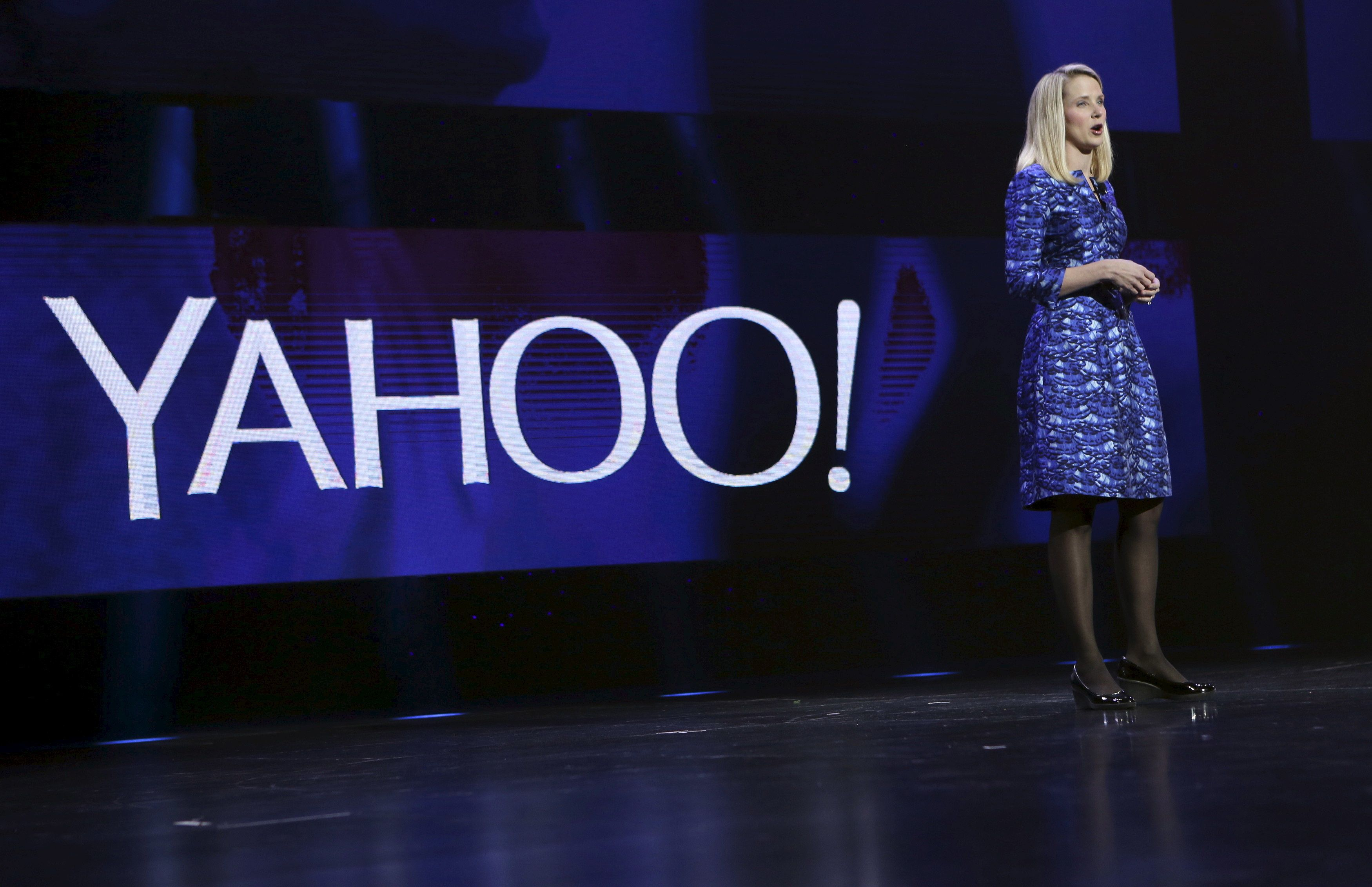Yahoo CEO Marissa Mayer delivers her keynote address at the annual Consumer Electronics Show (CES) in Las Vegas, Nevada in this January 7, 2014, file photo. REUTERS/Robert Galbraith/Files  GLOBAL BUSINESS WEEK AHEAD PACKAGE - SEARCH 'BUSINESS WEEK AHEAD APRIL 18'  FOR ALL IMAGES