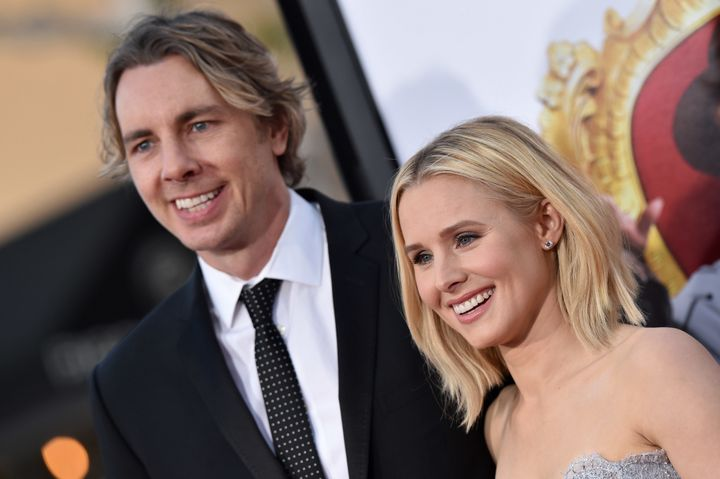 "Dax Shepard and Kristen Bell arrive at the premiere of ""The Boss"" on March 28, 2016, in Westwood, California."