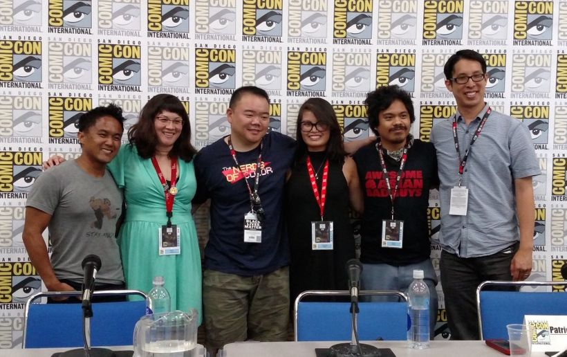 Super Asian America panel on July 24, 2016 at San Diego Comic-Con (from left to right): Mike Le, Sarah Kuhn, Keith Chow, Chri