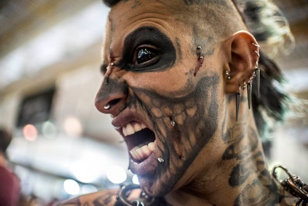 A tattooed model performs during the Tattoo Week SP 2016 in Sao Paulo, Brazil, July 24, 2016.