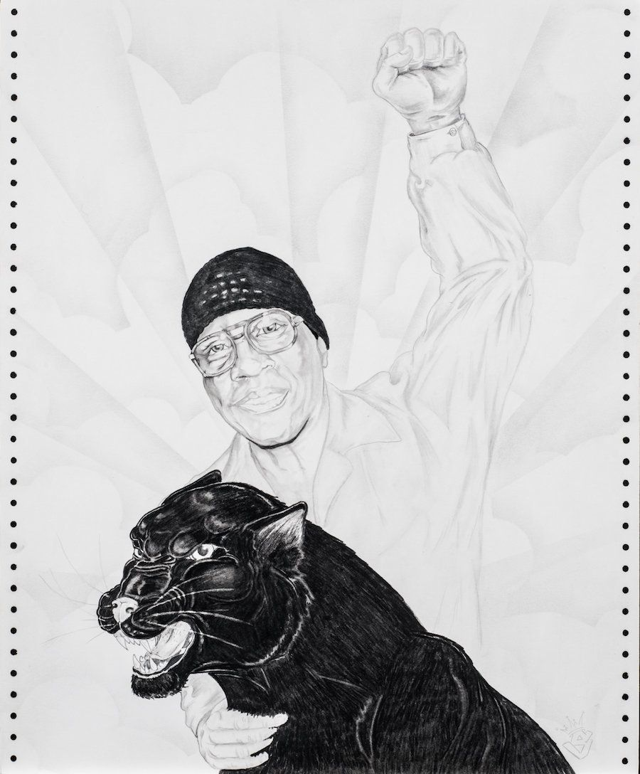 "Patrick ""Smak"" Broussard, ""Portrait of Herman Wallace."" 2008. Pencil on paper. Courtesy of Jackie Sumell."