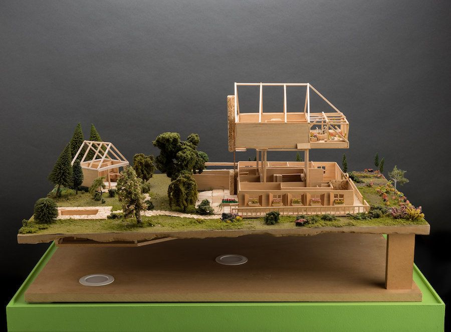 "Jackie Sumell and Herman Wallace, ""The House That Herman Built"" (model). Balsa wood and flocking, 2007. Courtesy of the artis"