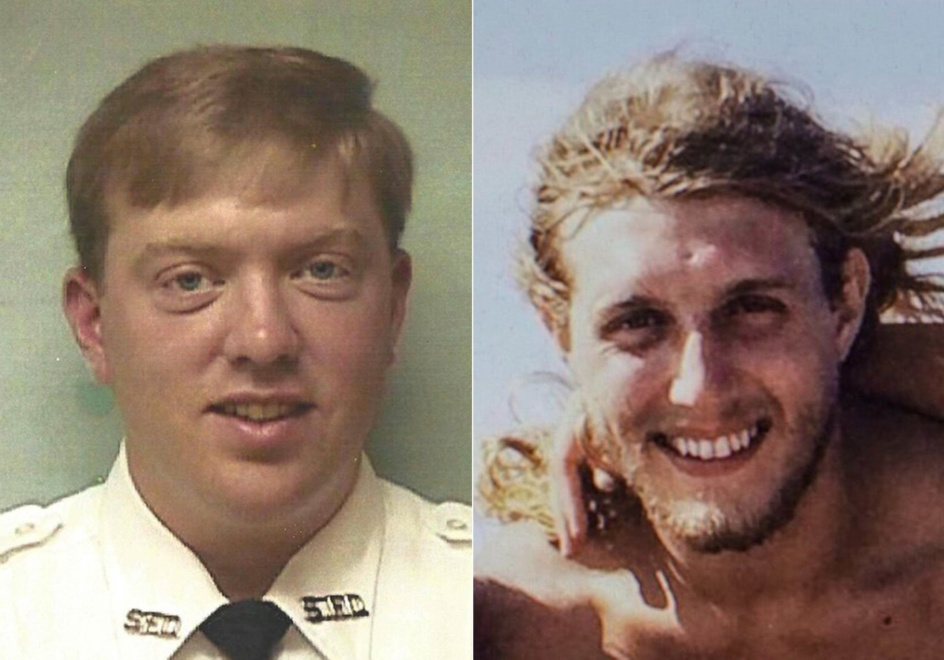Hardison (left) in uniform before his injury (left) and a snapshot of David Rodebaugh, the face