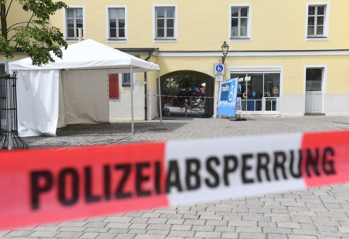 The entrance of a music festival where a suicide bomber blew himself up on Sunday in Ansbach, Germany.
