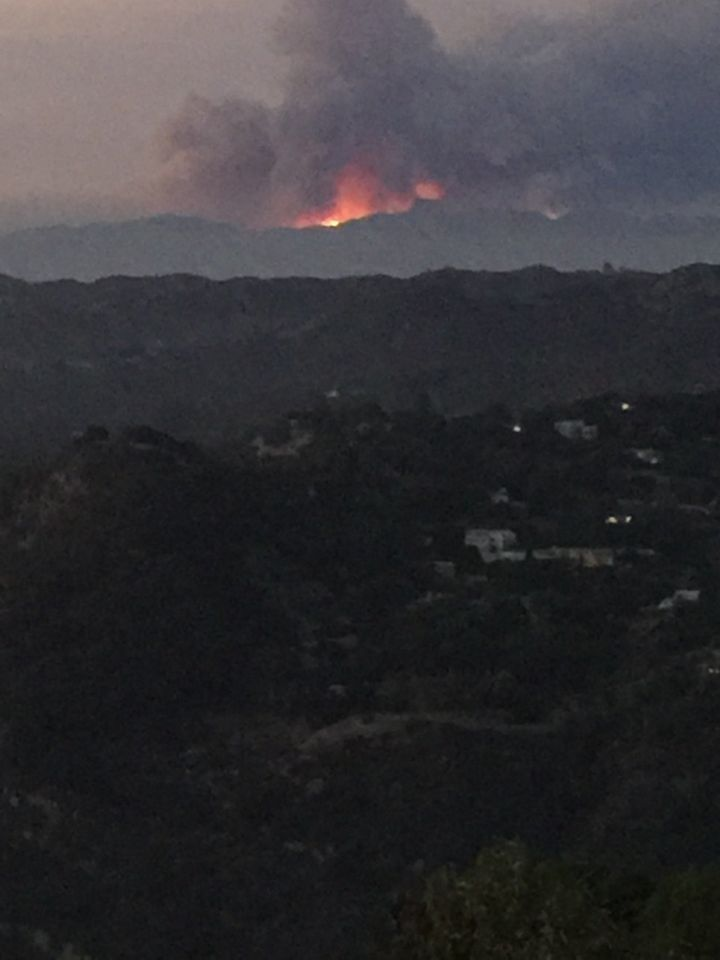 Sand Fire as seen from the author's home 20 miles away.