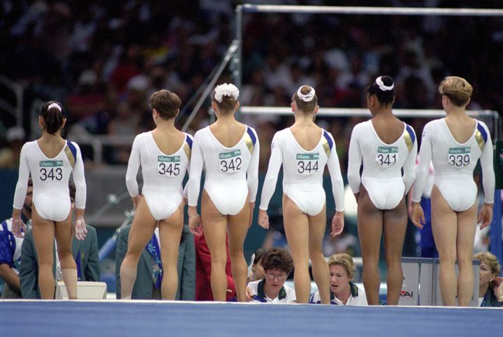 The United States Women's Gymnastics Team of Dominique Moceanu, Kerri Strug, Shannon Miller, Jaycie Phelps, Dominique Dawes a