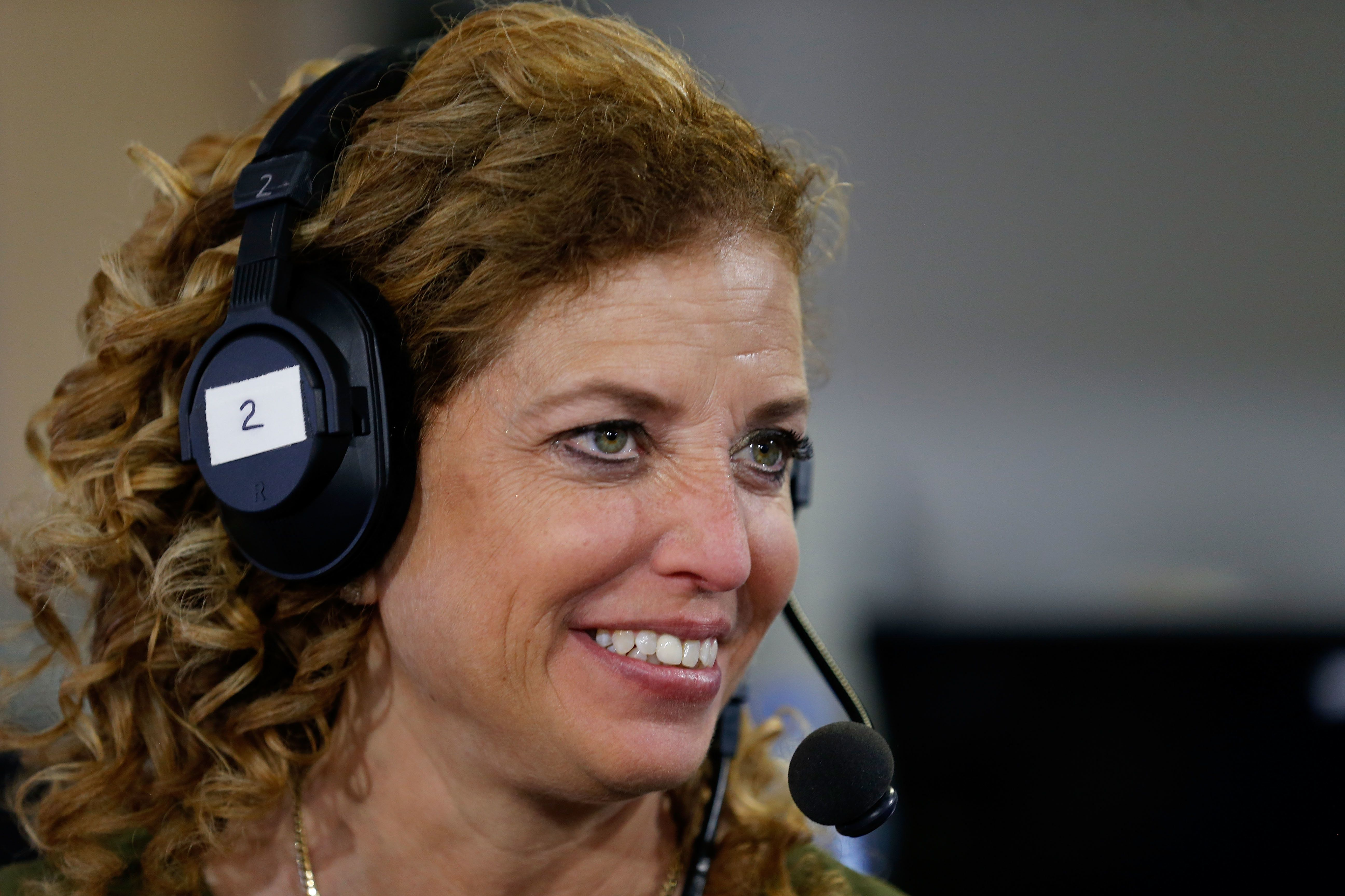 CLEVELAND, OH - JULY 20: Debbie Wasserman Schultz, chair of the Democratic National Committee, discusses why she believes Hillary Clinton is the best candidate for the presidency, while being interviewed by Julie Mason, on 'The Press Pool' at Quicken Loans Arena on July 20, 2016 in Cleveland, Ohio. (Photo by Kirk Irwin/Getty Images for SiriusXM)
