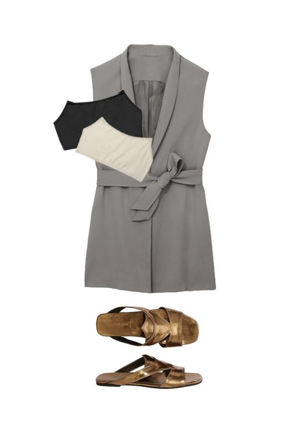 <strong>Vest</strong> <br> A long vest, especially worn over a flowy dress or top, gives you the structure of a blazer withou