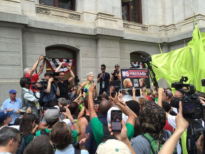 Green Party presumptive nominee Jill Stein courts Bernie Sanders supporters in Philadelphia.