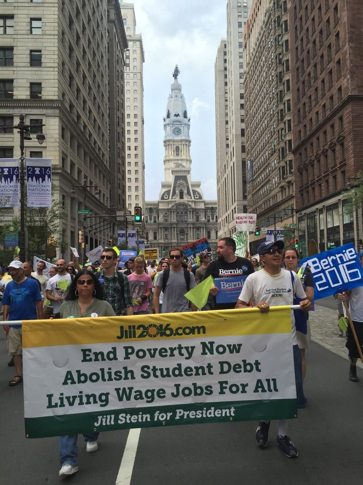 Green Party supporters march outside Philadelphia City Hall.