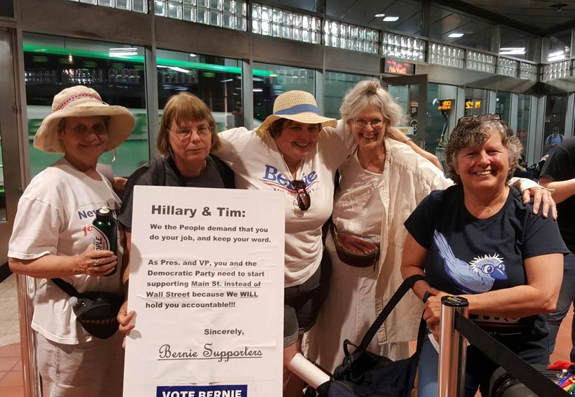 Sanders supporters heading to the DNC (l to r) Corinne Dodge, Joan DeYoreo, Ellen Read, Gera, and Gail Gouveia of New Hampshi