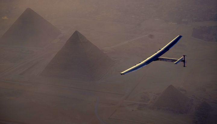 Solar Impulse 2 flies above Giza pyramids earlier this month.