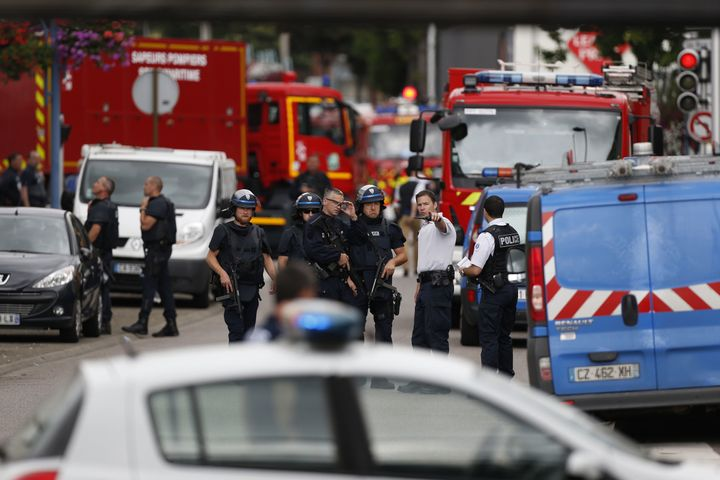 The knife attackers took five people hostage inside the church in the Normandy town of Saint-Etienne-du-Rouvray.
