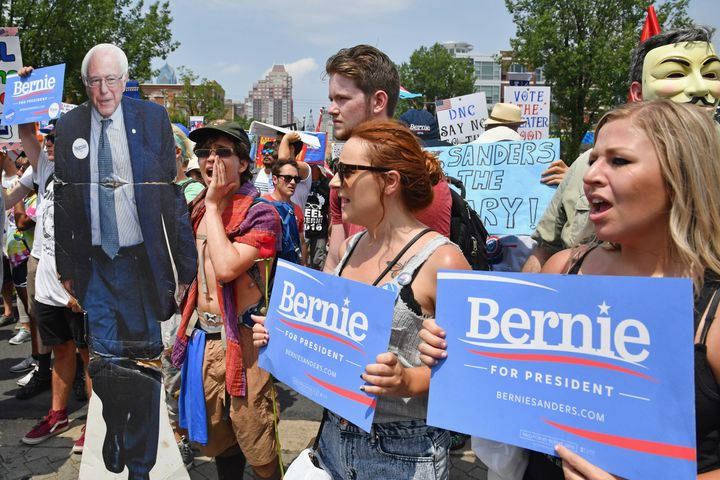 Bernie Sanders supporters marchat theDemocratic National Convention on July 25, 2016 to show their unwavering sup