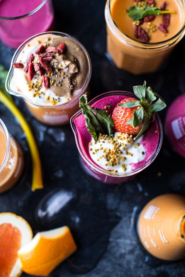 """<strong>Get the <a href=""""http://www.halfbakedharvest.com/power-food-fruit-smoothies-2-ways/"""" target=""""_blank"""">Strawberry Acai"""