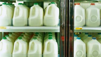 Cartons of milk in supermarket refrigerator, full frame