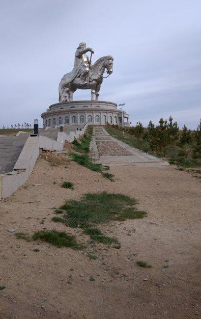 A mammoth statue of Genghis Khan dominates the countryside