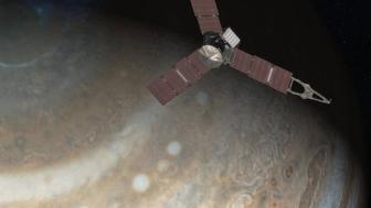 An artist's rendering depicts NASA's Juno spacecraft above Jupiter's north pole in this undated handout image. Launched in 2011, the Juno spacecraft will arrive at Jupiter in 2016 to study the giant planet from an elliptical, polar orbit. Juno will repeatedly dive between the planet and its intense belts of charged particle radiation.  NASA/JPL-Caltech/Handout via Reuters  ATTENTION EDITORS - THIS IMAGE WAS PROVIDED BY A THIRD PARTY. EDITORIAL USE ONLY