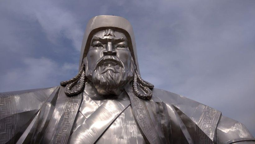 Genghis Khan statue viewed from within the head of his steed