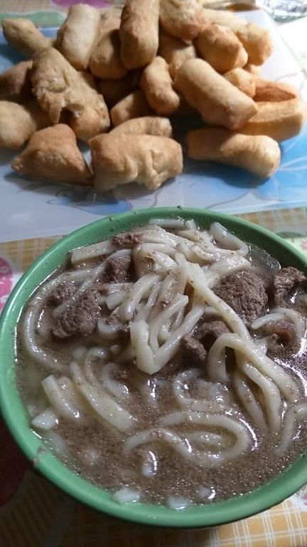 A typical dish is meat with homemade noodles