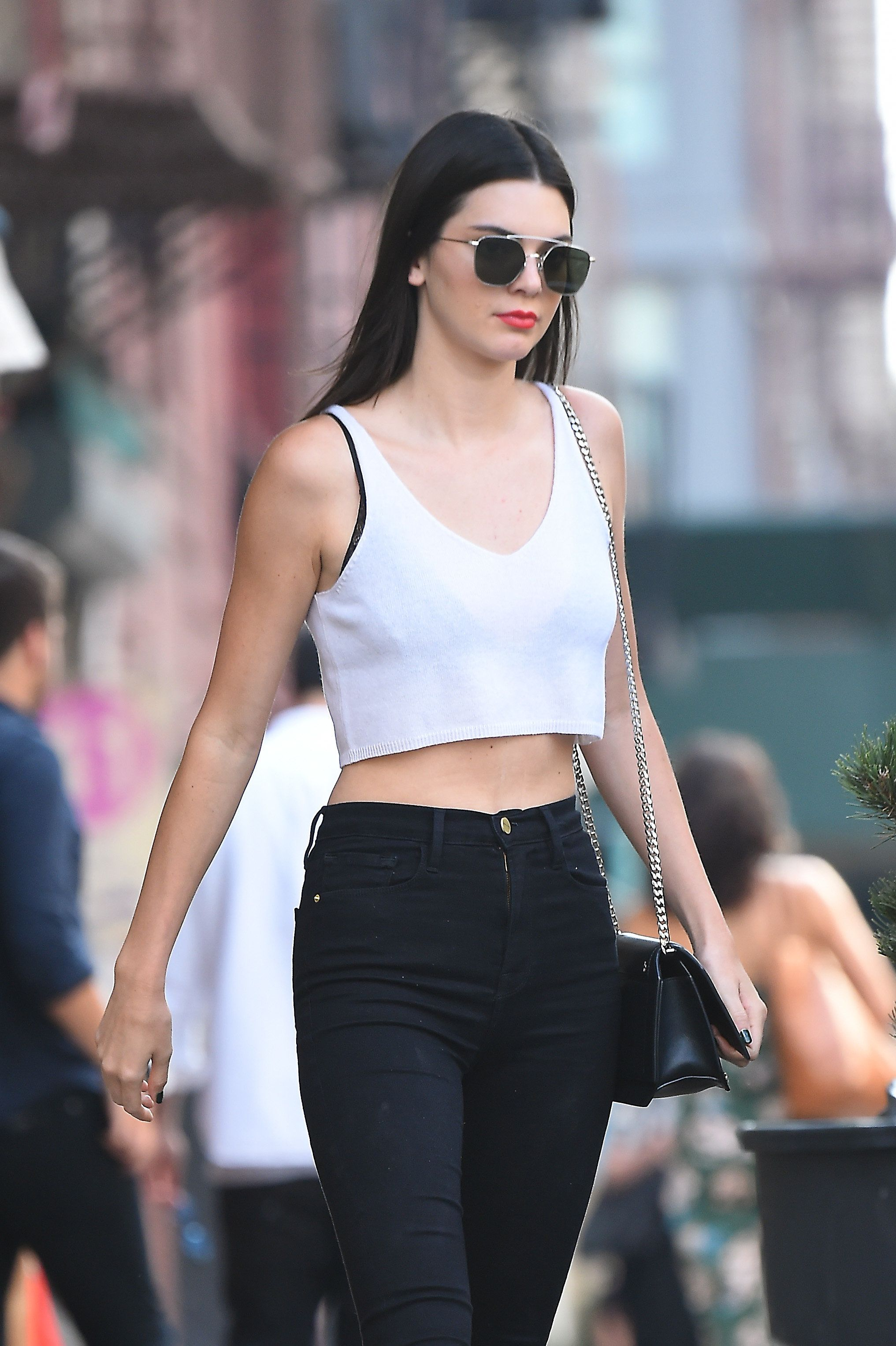 NEW YORK, NY - JULY 22: Kendall Jenner seen out in East Village as she grabs lunch at il Buco Alimentari & Vineria on July 22, 2016 in New York, NY. (Photo by Josiah Kamau/BuzzFoto via Getty Images)