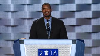 Jason Collins speaks during Day 1 of the Democratic National Convention at the Wells Fargo Center in Philadelphia, Pennsylvania, July 25, 2016. / AFP / SAUL LOEB        (Photo credit should read SAUL LOEB/AFP/Getty Images)