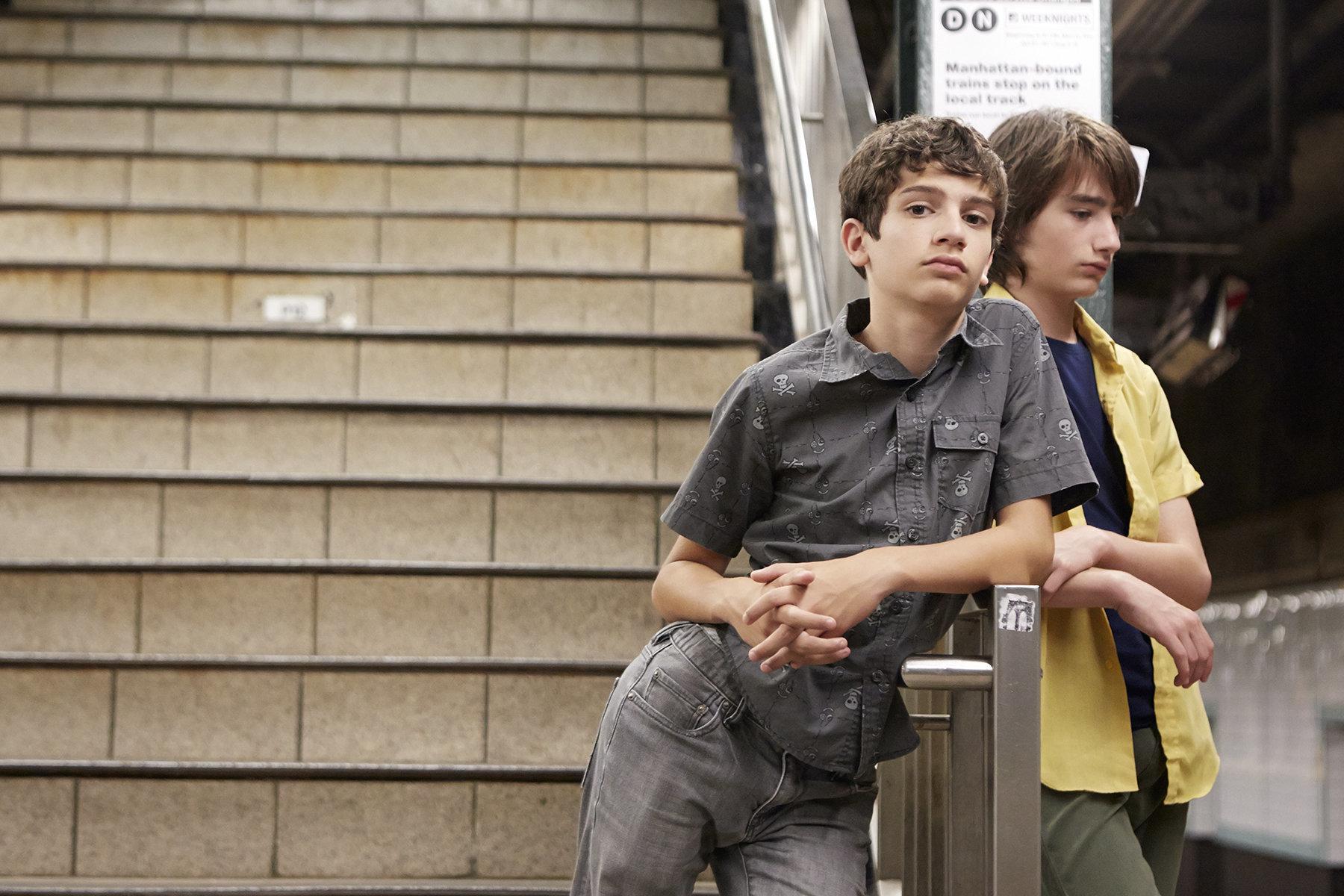 "MichaelBarbieri and Theo Taplitz star in a scene from ""Little Men."""