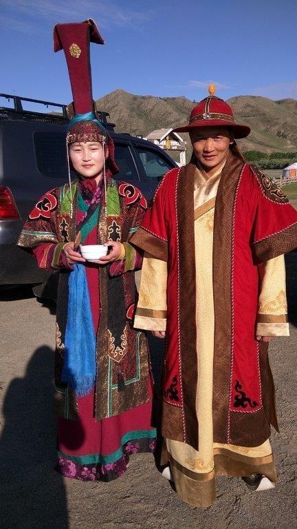 Costumed staff greet visitors to <i>ger</i> camp
